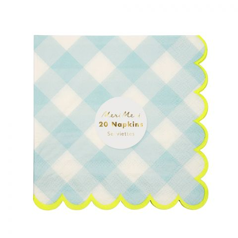 Blue Gingham Napkins, small - From Meri Meri