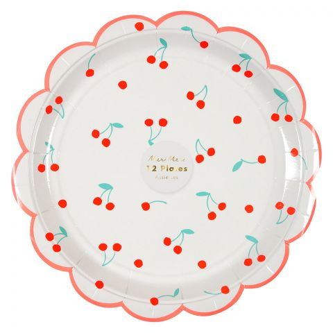 Large Cherry Party Plates from Meri Meri