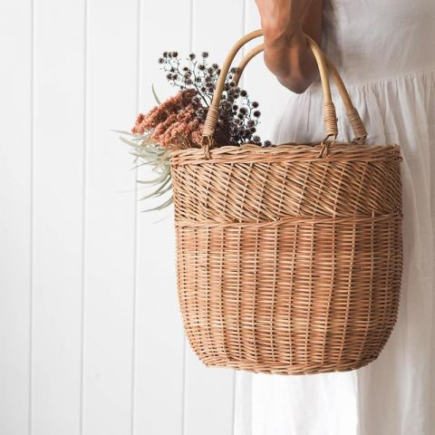 Large Bucket Bag in rattan from Olli Ella :: Baby Bottega