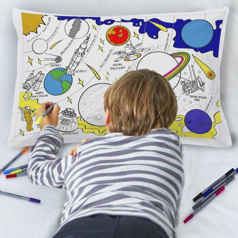 Space Explorer Doodle Pillowcase from Eat Sleep Doodle :: Baby Bottega