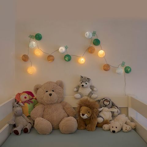 Oscar in Pink garland lights from La Case de Cousin Paul :: Baby Bottega