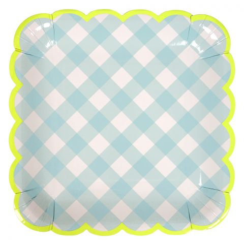 Piatti di Carta, plaid blu chiaro (large) da Meri Meri