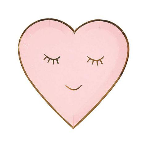Piatto di carta, forma cuore. color rosa, piccolo da Meri Meri