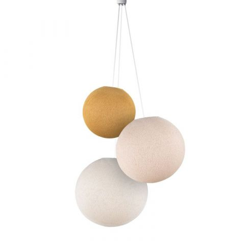 Lampadario sfere moutarde, lin, ecru di La Case de Cousin Paul :: Baby Bottega