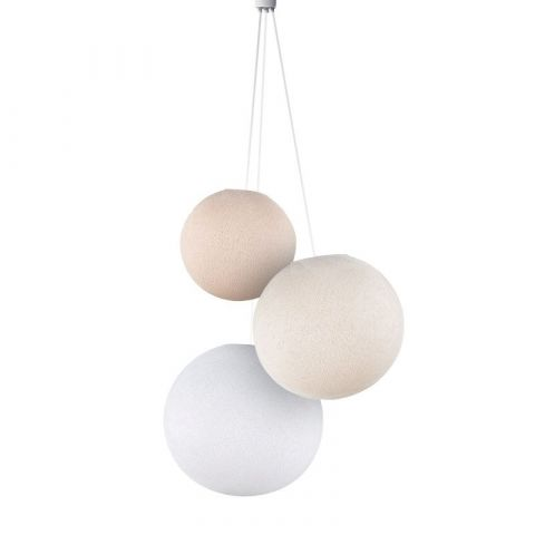 Lampadario sfere lino-ecru-bianco da La Case de Cousin Paul :: Baby Bottega