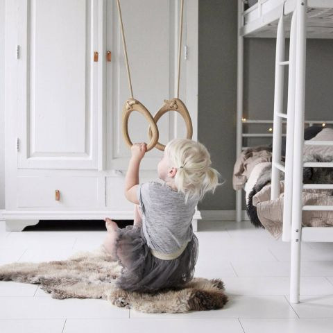 Lillagunga Classic Oak Rings with beige rope  :: Indoor Playground :: Baby Bottega