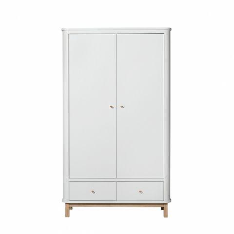 Armadio 2 ante in bianco & legno da Oliver Furniture :: Baby Bottega