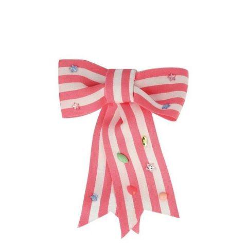 Pink Stripe Bow Hair Clip from Meri Meri :: Baby Bottega