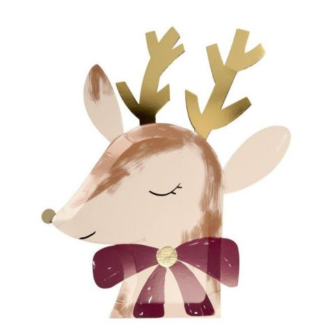 Reindeer With Bow Plates from Meri Meri Holiday Christmas Collection
