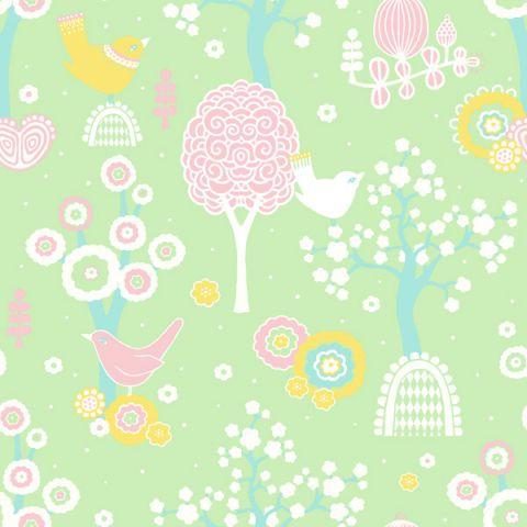 Cherry Valley Wallpaper Green Sample