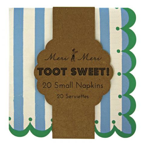Toot Sweet Large Stripe Napkins  Blue