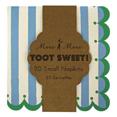 Toot Sweet Large Stripe Napkins  Blue