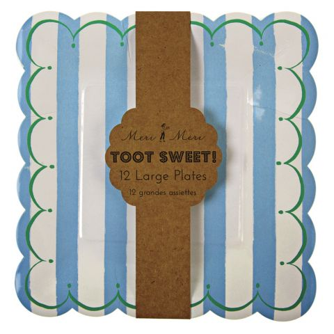 Toot Sweet Small Stripe Plates Blue