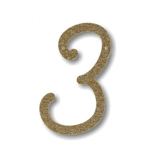 Gagliardetto Acrilico Gold Glitter 3