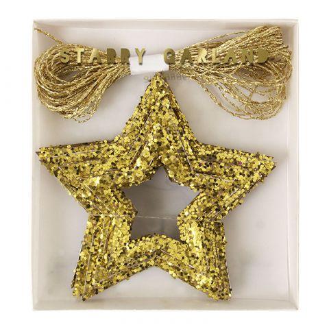 Chunky Gold Glitter Stars Mini Garland from Meri Meri :: Baby Bottega