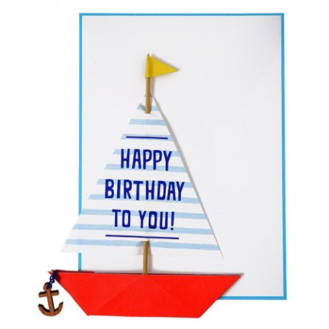 Sailing Boat with Anchor Card