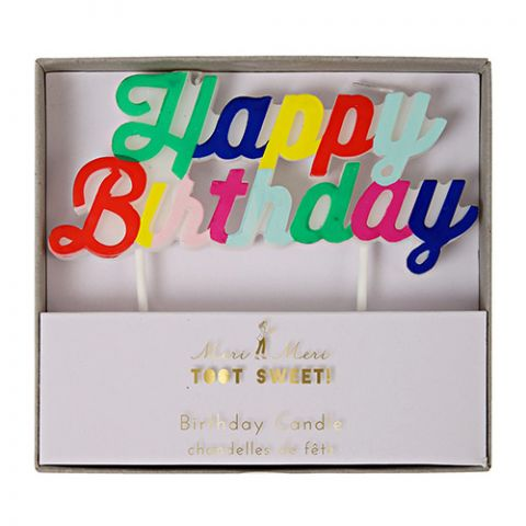 Multicolour Happy Birthday Candle from the Meri Meri Birthday Collection