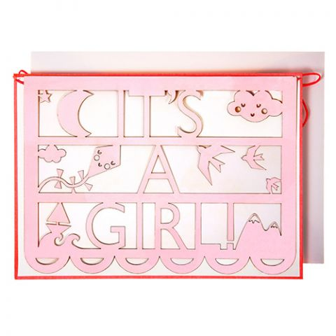 It's a Girl Cut-Out Card