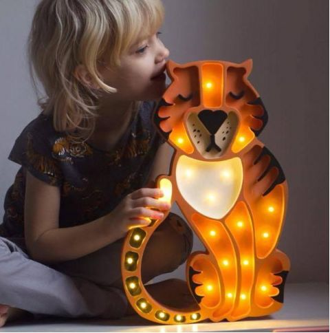 This high-quality children's night light is handmade from 100% natural pinewood, making it as strong and durable as it is beautiful. Your little one has a new fearsome friend by their side with this Little Lights Tiger Lamp catnapping next to them. Grab this tiger by the tail by ordering one now!