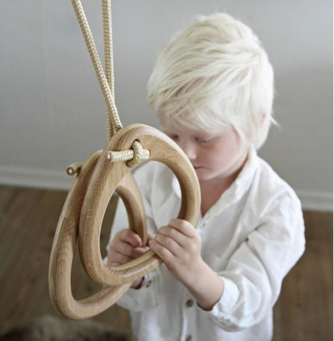 Lillagunga Classic Oak Rings with beige rope  :: Indoor Playground :: Baby Bottega