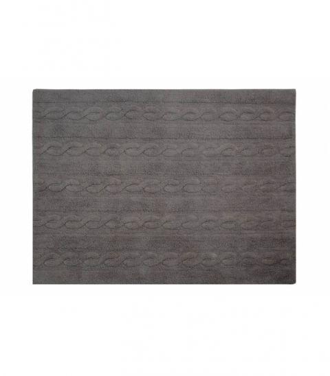 Trenzas Dark Grey Small Washable Rug