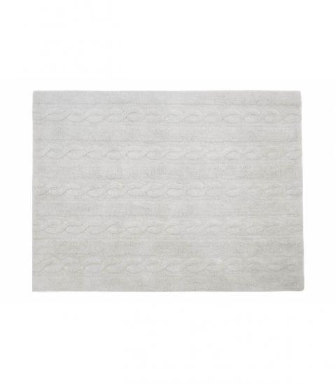 Pearl Grey Trenzas Small Washable Rug