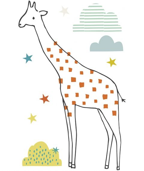 Giraffe, Stars and Clouds XL Wall Sticker