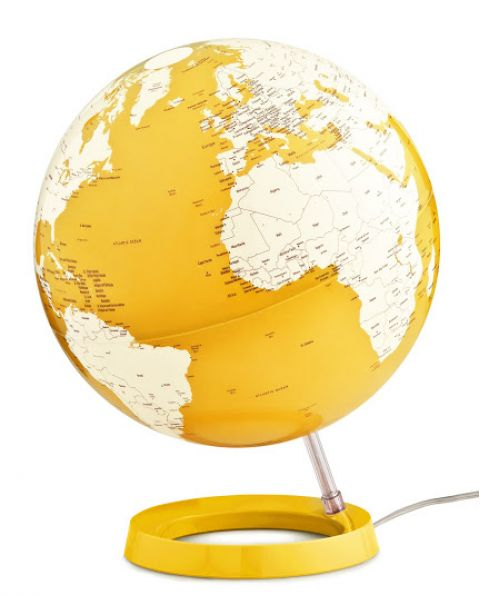 World Globe Yellow Table Lamp