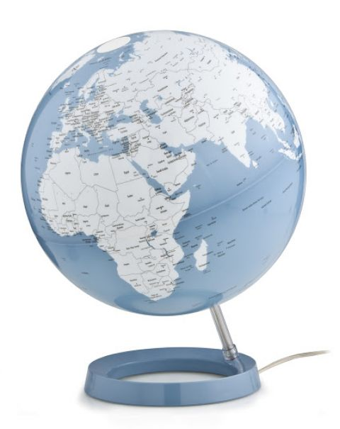 World Globe Blue Table Lamp