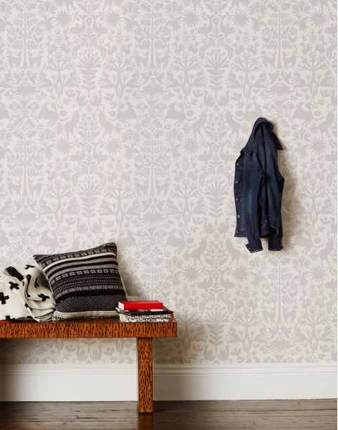 Otomi Pewter Wallpaper