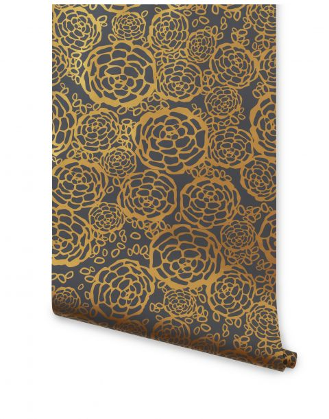 Petal Pusher Gray Gold Wallpaper