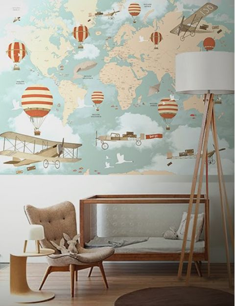 World map balloon ride mural wallpaper gumiabroncs Image collections