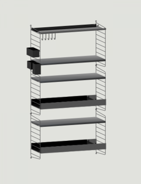 String System, scaffalature 80 X 150 cm :: Baby Bottega Wall Unit 150 x 80cm from String Furniture :: Baby Bottega