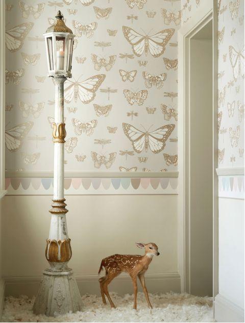 Butterflies & Dragonflies Wallpaper Shades of Beige
