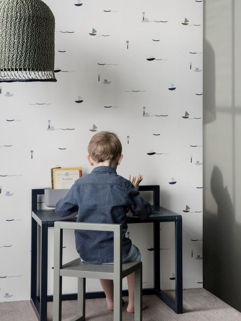 scrivania little architect blu ferm living baby bottega