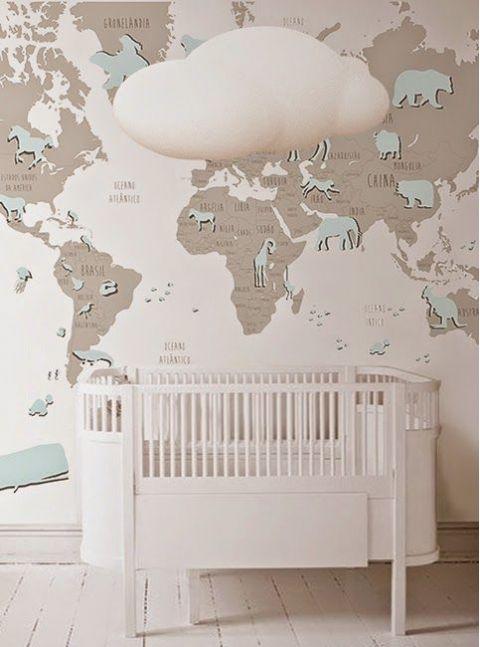 Blue World Map Wallpaper Mural