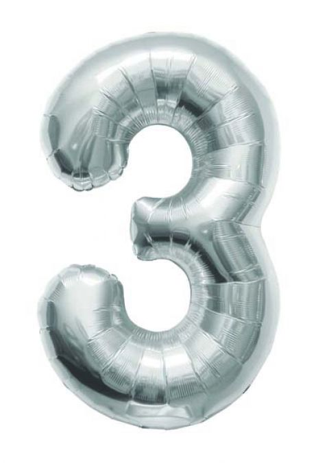 Silver Foil Number 3 Balloon